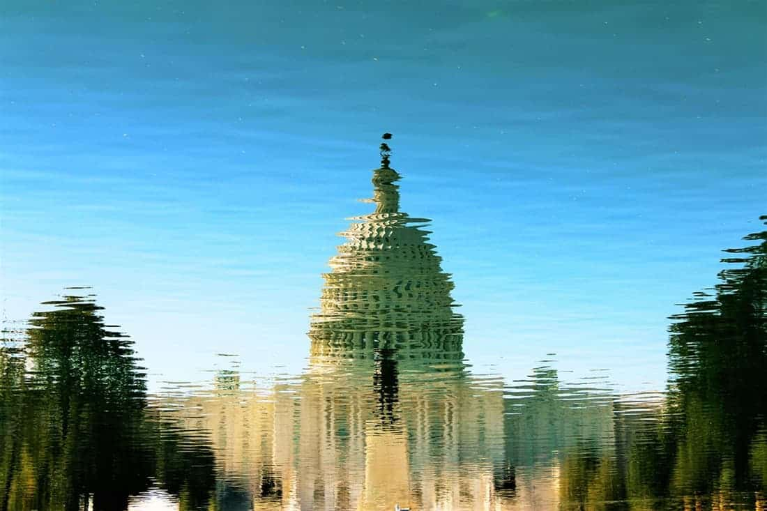 capitol building reflection / public domain
